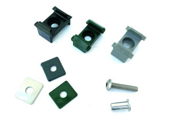 Auflageböcke mit Plättchen und Schraube für Formrohr Säule 60/40mm